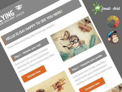 Flying Welcome Message Email Newsletter Template