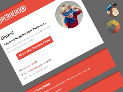 Superheroo Lost Password MailChimp Template